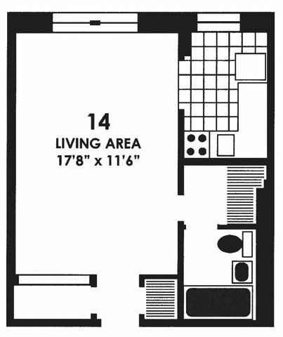 Studio 1 Bathroom Apartment for rent at The Park Dearborn in Chicago, IL