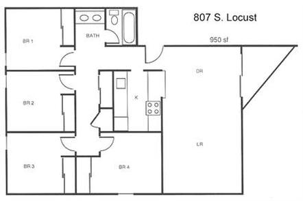 4 Bedrooms 1 Bathroom Apartment for rent at 807 S Locust in Champaign, IL