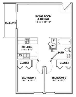2 Bedrooms 1 Bathroom Apartment for rent at 1012 W. Clark in Urbana, IL