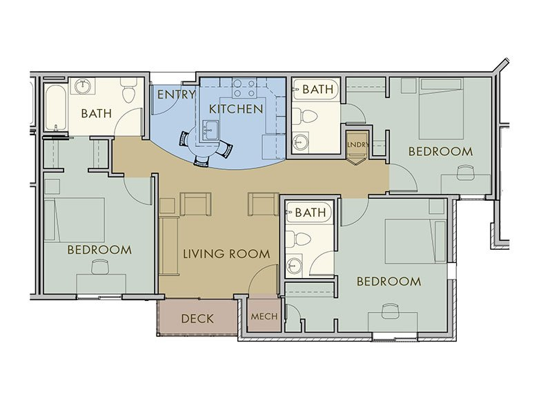 3 Bedrooms 3 Bathrooms Apartment for rent at Flats At The Oval in Fort Collins, CO
