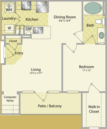 1 Bedroom 1 Bathroom Apartment for rent at The Fountains At Almeda in Houston, TX