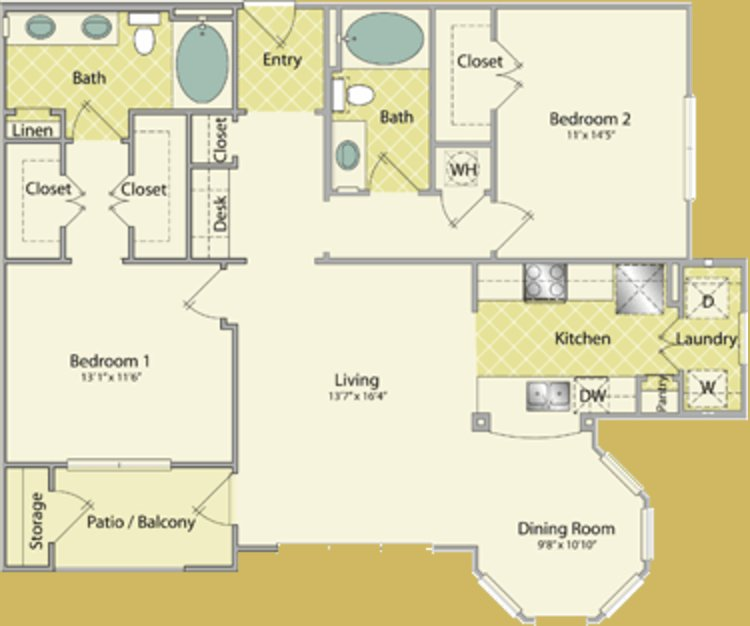 2 Bedrooms 2 Bathrooms Apartment for rent at The Fountains At Almeda in Houston, TX