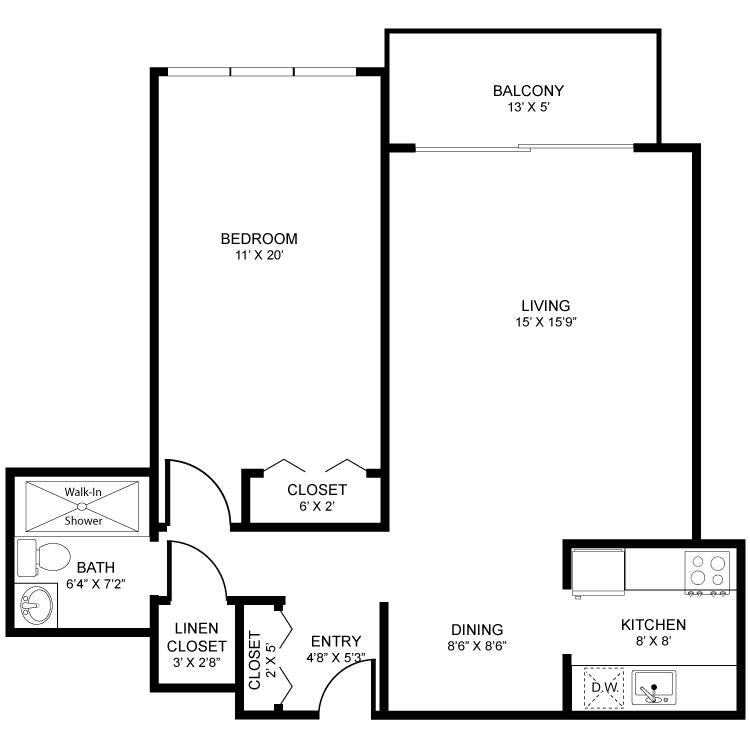 1 Bedroom 1 Bathroom Apartment for rent at Regency Square in Kalamazoo, MI