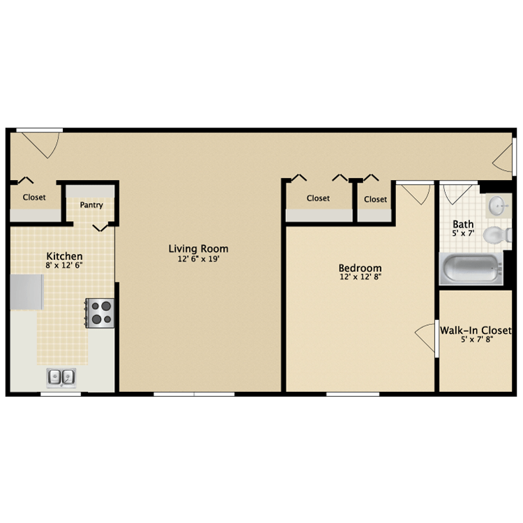 1 Bedroom 1 Bathroom Apartment for rent at Carriage Green in Kalamazoo, MI