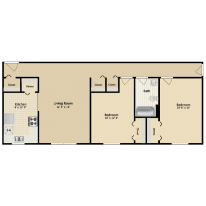 2 Bedrooms 1 Bathroom Apartment for rent at Carriage Green in Kalamazoo, MI