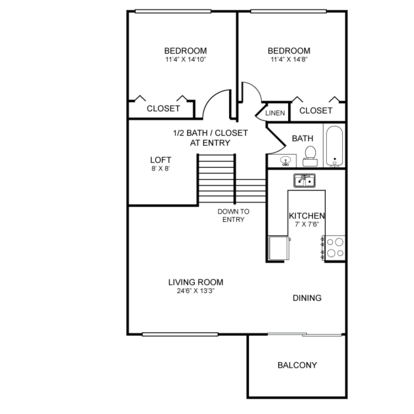 2 Bedrooms 2 Bathrooms Apartment for rent at Embassy Terrace Apartments in Kalamazoo, MI