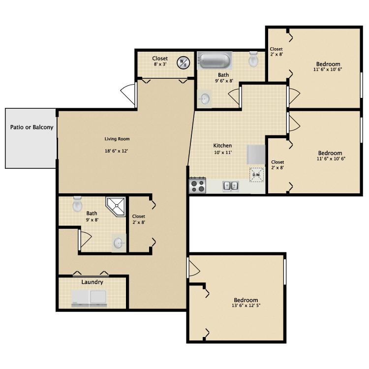 3 Bedrooms 2 Bathrooms Apartment for rent at Greenbriar Apartments in Kalamazoo, MI