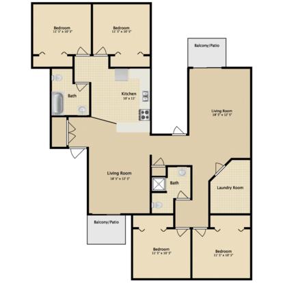 4 Bedrooms 2 Bathrooms Apartment for rent at Greenbriar Apartments in Kalamazoo, MI