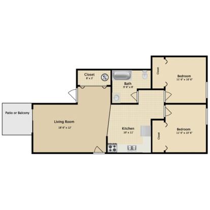 2 Bedrooms 1 Bathroom Apartment for rent at Greenbriar Apartments in Kalamazoo, MI