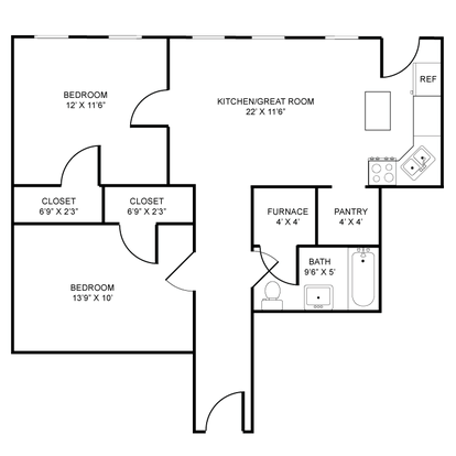 2 Bedrooms 1 Bathroom Apartment for rent at Old Towne Commons in Kalamazoo, MI