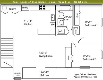 2 Bedrooms 1 Bathroom Apartment for rent at Stoneridge Apartments in Delafield, WI