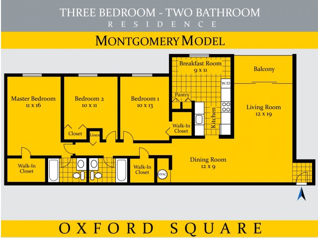 3 Bedrooms 2 Bathrooms Apartment for rent at Oxford Square At White Flint in Rockville, MD