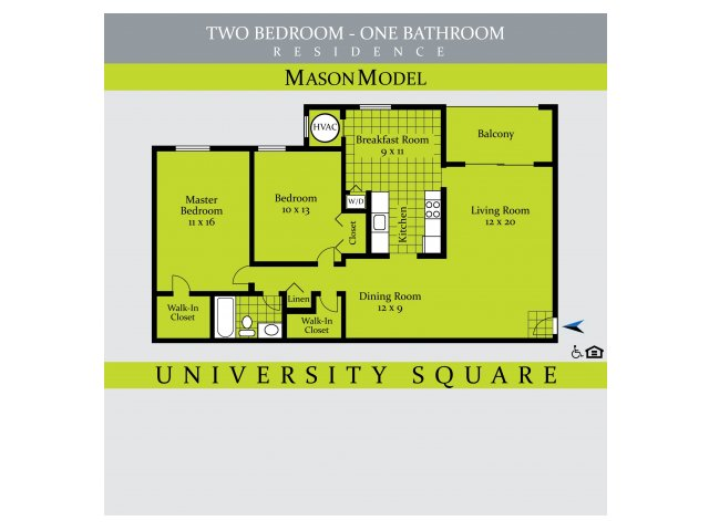 2 Bedrooms 1 Bathroom Apartment for rent at University Square in Greenbelt, MD