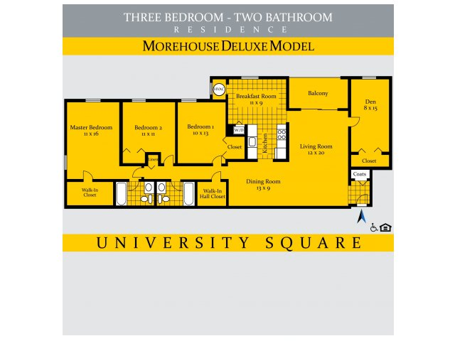 3 Bedrooms 2 Bathrooms Apartment for rent at University Square in Greenbelt, MD