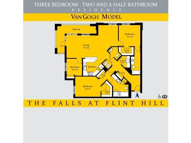 3 Bedrooms 2 Bathrooms Apartment for rent at The Falls At Flint Hill in Fairfax, VA