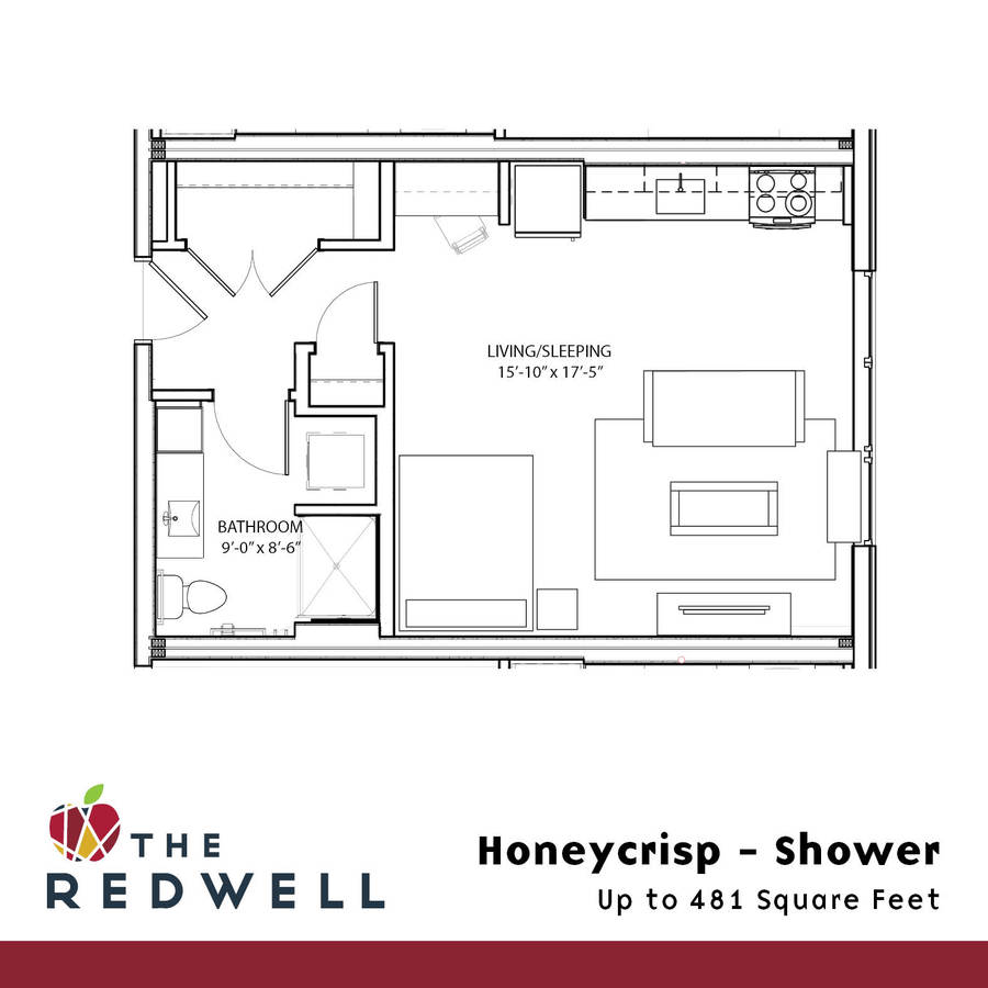 Studio 1 Bathroom Apartment for rent at The Redwell in Minneapolis, MN