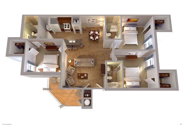 3 Bedrooms 3 Bathrooms Apartment for rent at University Edge Waco in Waco, TX