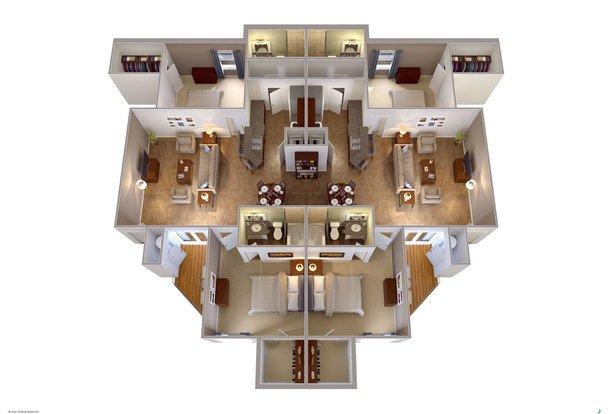 4 Bedrooms 4+ Bathrooms Apartment for rent at University Edge Waco in Waco, TX