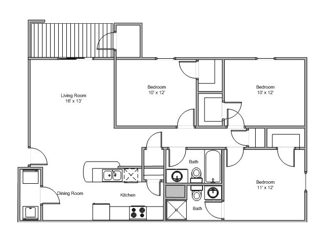 3 Bedrooms 2 Bathrooms Apartment for rent at Quail Creek in Springfield, MO