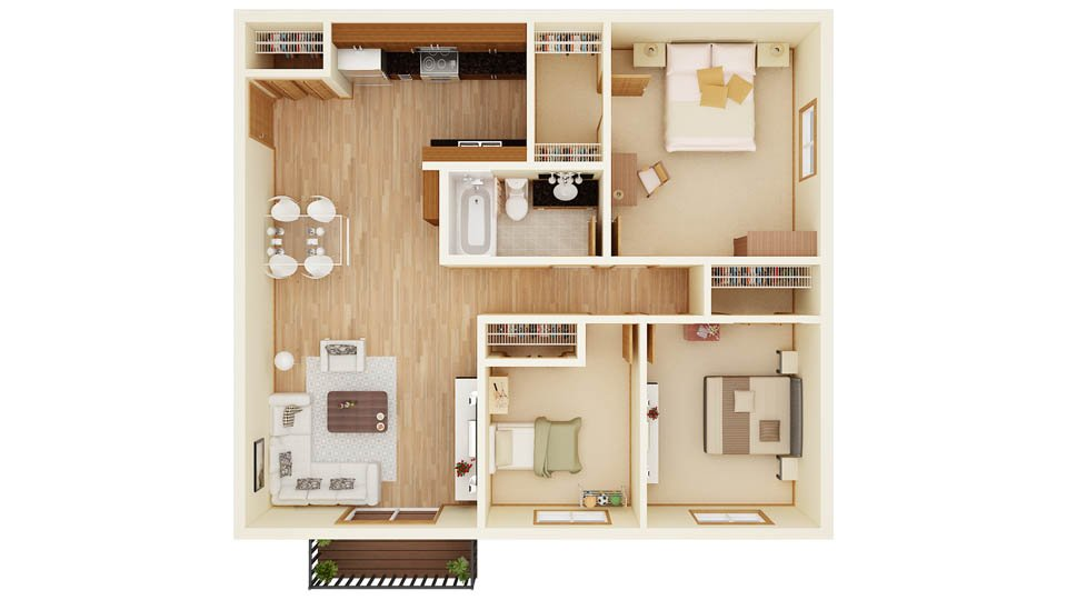 3 Bedrooms 1 Bathroom Apartment for rent at Pineridge Apartments in Forest Lake, MN
