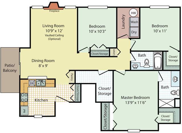 3 Bedrooms 2 Bathrooms Apartment for rent at Briar Cove in Ann Arbor, MI