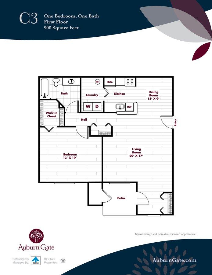 1 Bedroom 1 Bathroom Apartment for rent at Auburn Gate in Auburn Hills, MI