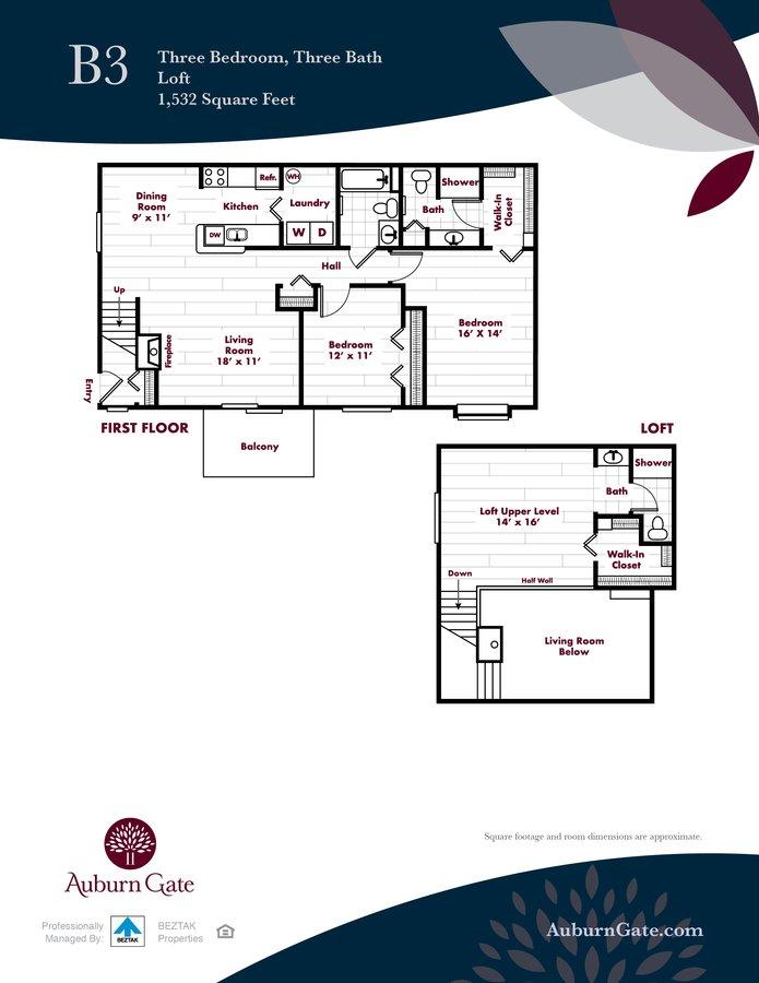 3 Bedrooms 3 Bathrooms Apartment for rent at Auburn Gate in Auburn Hills, MI