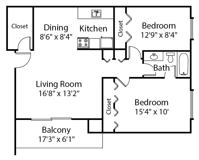 2 Bedrooms 1 Bathroom Apartment for rent at The Trilogy Apartments in Belleville, MI