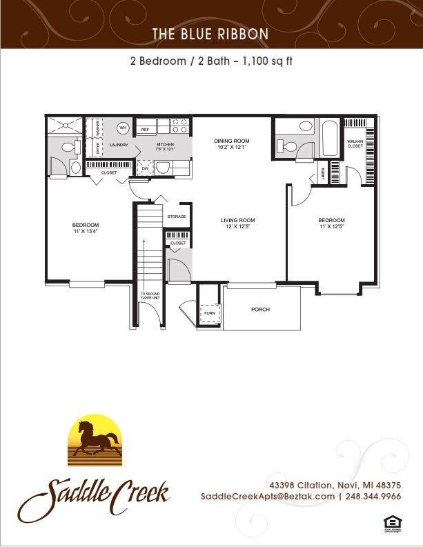 2 Bedrooms 2 Bathrooms Apartment for rent at Saddle Creek Apartments in Novi, MI
