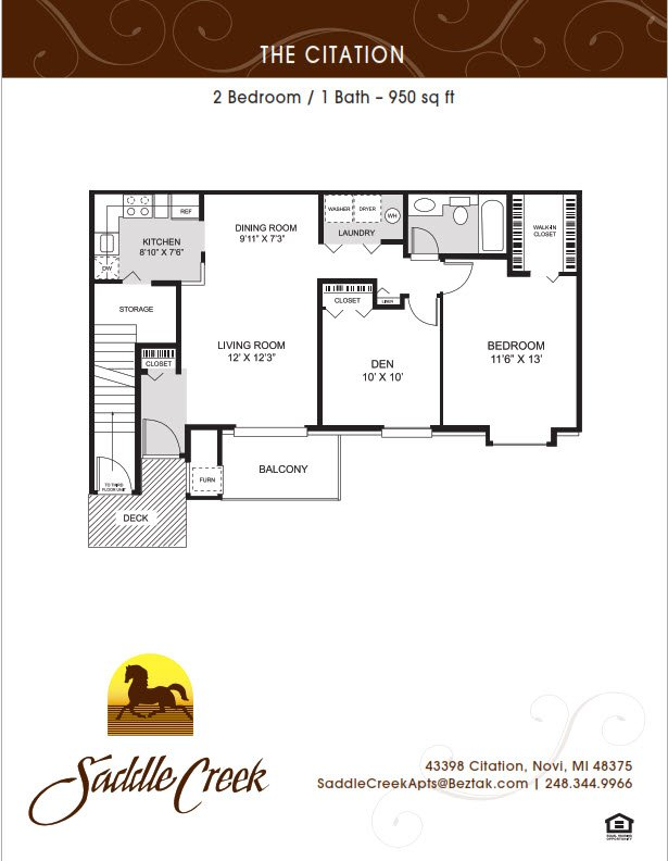 2 Bedrooms 1 Bathroom Apartment for rent at Saddle Creek Apartments in Novi, MI