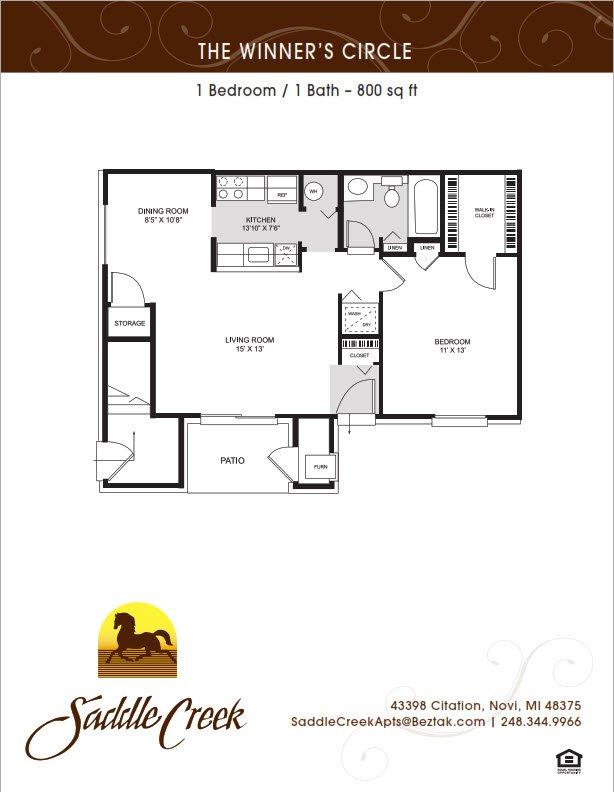 1 Bedroom 1 Bathroom Apartment for rent at Saddle Creek Apartments in Novi, MI