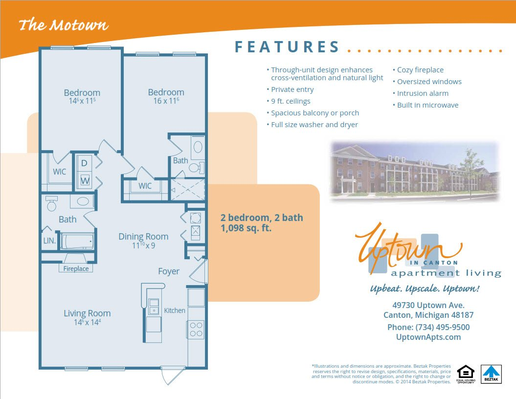 2 Bedrooms 2 Bathrooms Apartment for rent at Uptown Apartments in Canton, MI
