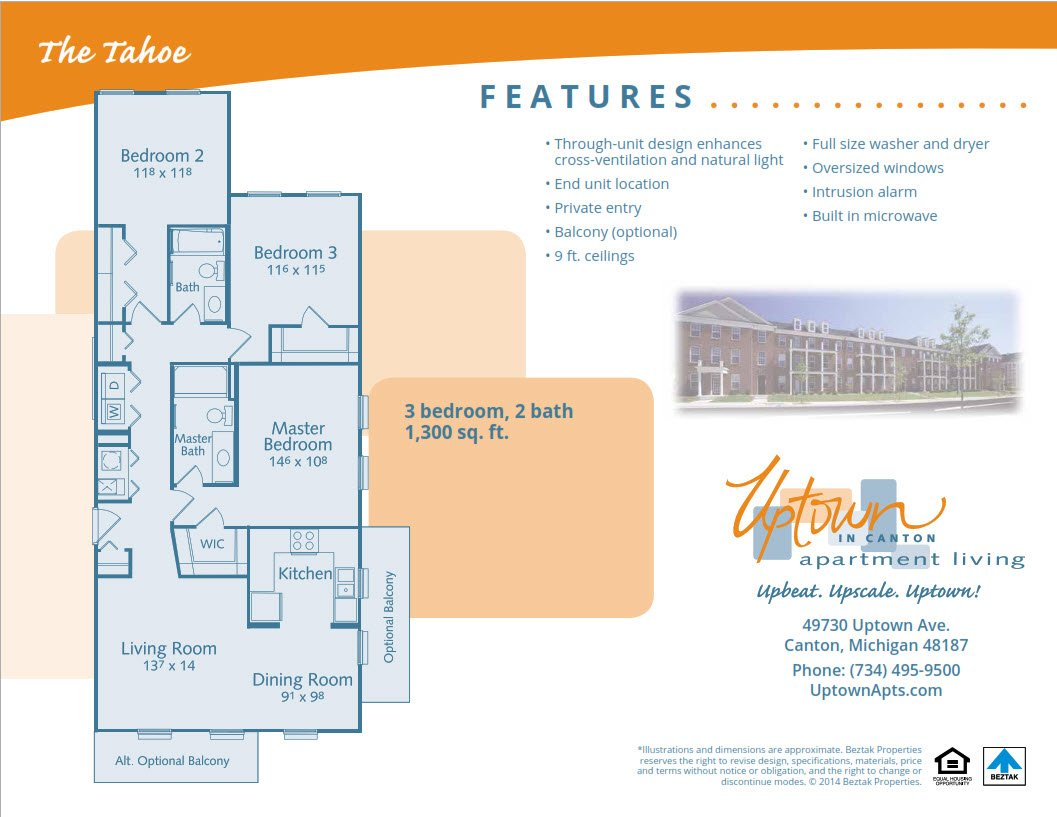 3 Bedrooms 2 Bathrooms Apartment for rent at Uptown Apartments in Canton, MI