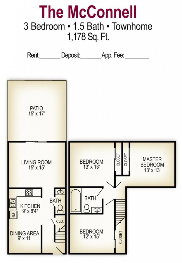 3 Bedrooms 2 Bathrooms Apartment for rent at Georgetown Apartments in Columbus, OH