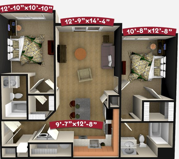 2 Bedrooms 2 Bathrooms Apartment for rent at Champion's Club in Fayetteville, AR