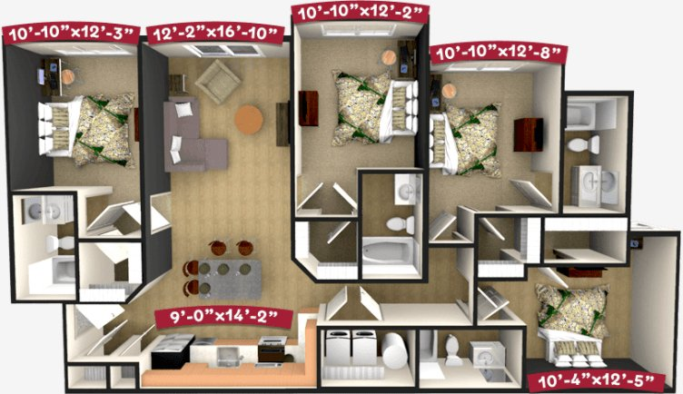 4 Bedrooms 4+ Bathrooms Apartment for rent at Champion's Club in Fayetteville, AR