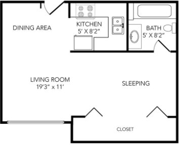 Studio 1 Bathroom Apartment for rent at Country Club On 6th in Lawrence, KS