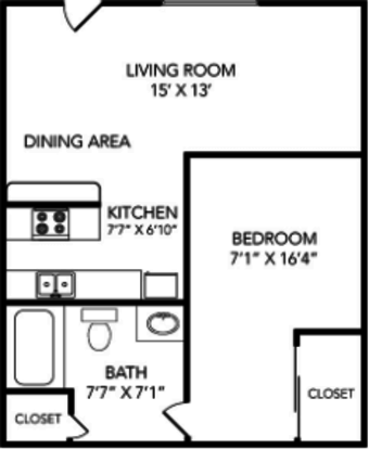 1 Bedroom 1 Bathroom Apartment for rent at Country Club On 6th in Lawrence, KS
