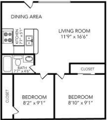 2 Bedrooms 1 Bathroom Apartment for rent at Country Club On 6th in Lawrence, KS