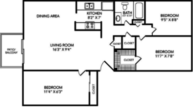 3 Bedrooms 1 Bathroom Apartment for rent at Country Club On 6th in Lawrence, KS