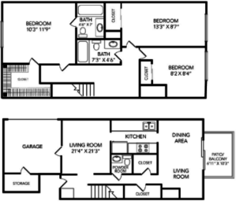 3 Bedrooms 3 Bathrooms Apartment for rent at Country Club On 6th in Lawrence, KS