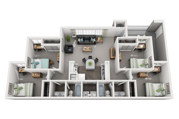 4 Bedrooms 2 Bathrooms Apartment for rent at The Monroe in Bloomington, IN