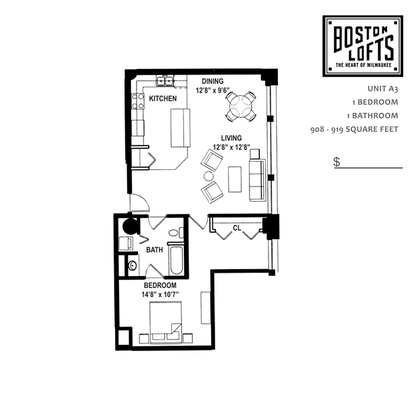 1 Bedroom 1 Bathroom Apartment for rent at Boston Lofts in Milwaukee, WI