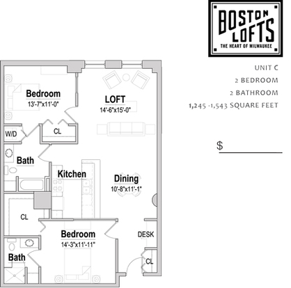 2 Bedrooms 2 Bathrooms Apartment for rent at Boston Lofts in Milwaukee, WI