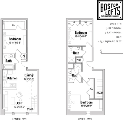 3 Bedrooms 3 Bathrooms Apartment for rent at Boston Lofts in Milwaukee, WI