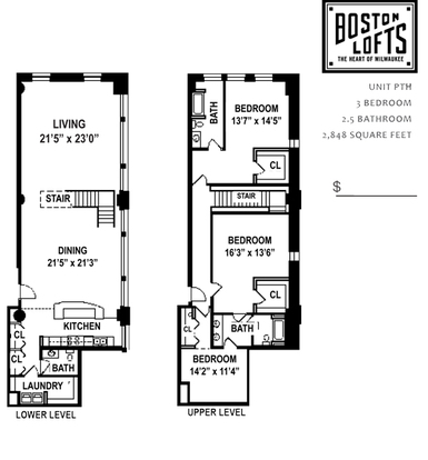 3 Bedrooms 2 Bathrooms Apartment for rent at Boston Lofts in Milwaukee, WI