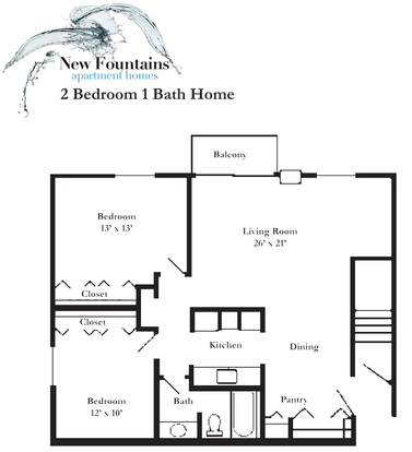 2 Bedrooms 1 Bathroom Apartment for rent at New Fountains Apartments in Madison, WI