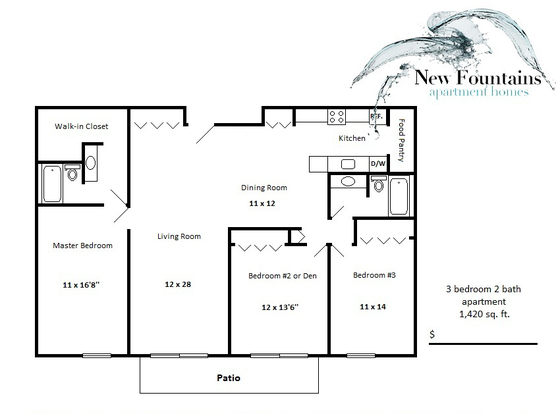 3 Bedrooms 2 Bathrooms Apartment for rent at New Fountains Apartments in Madison, WI