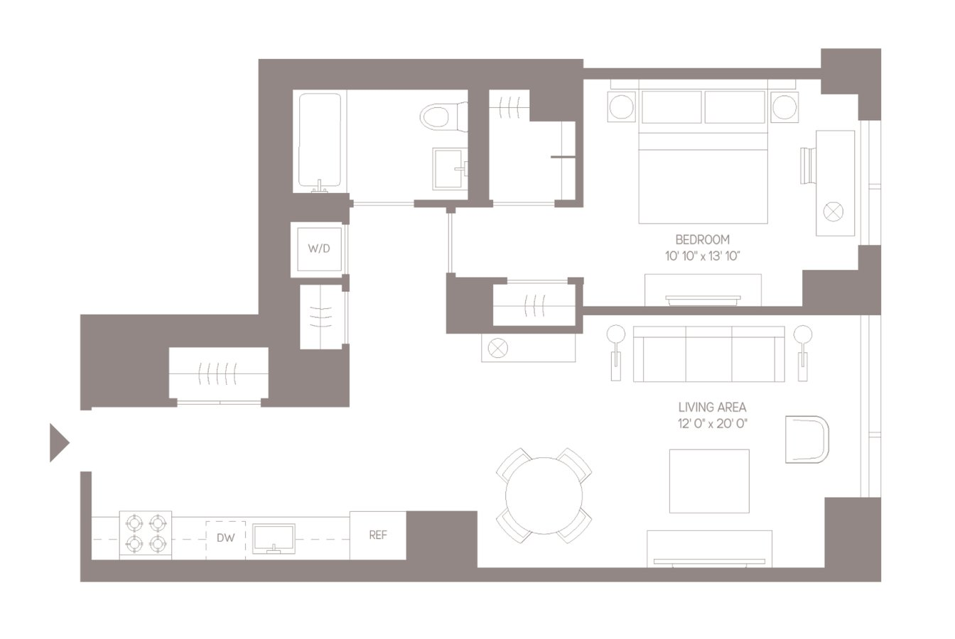 1 Bedroom 1 Bathroom Apartment for rent at 555ten in New York, NY