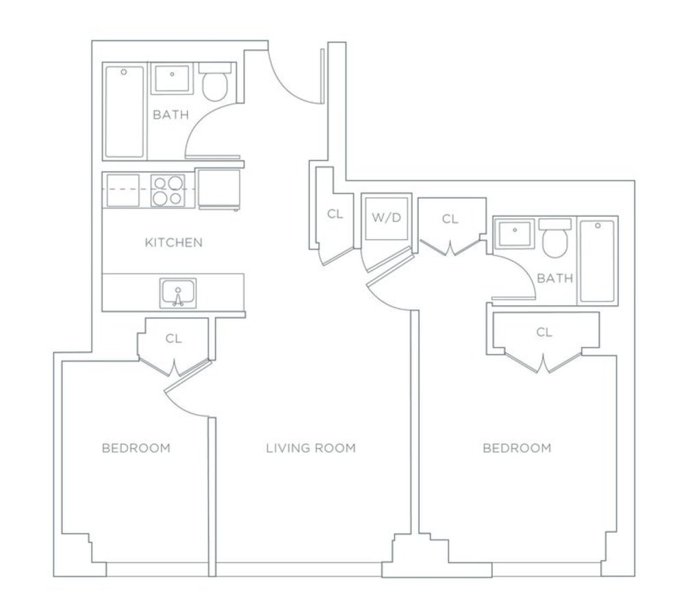 2 Bedrooms 2 Bathrooms Apartment for rent at 420 West 54th St in New York, NY
